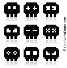Pixelated 8bit skull vector icons s - Cartoon black pixel ...