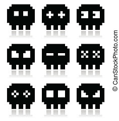 Cartoon black pixel skull icons isolated on white
