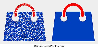 Pixelated and Flat Vector Airport Shopping Bag Icon