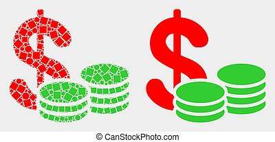 Pixelated and Flat Vector Cash Icon