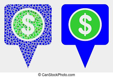 Pixelated and Flat Vector Dollar Map Marker Icon