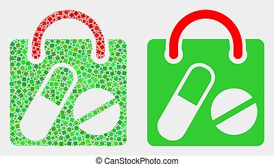 Pixelated and Flat Vector Drugs Shopping Bag Icon