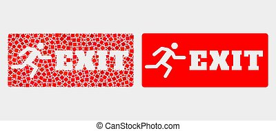 Pixelated and Flat Vector Emergency Exit Icon