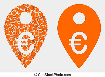 Pixelated and Flat Vector Euro Map Marker Icon