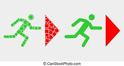 Pixelated and Flat Vector Exit Person Icon