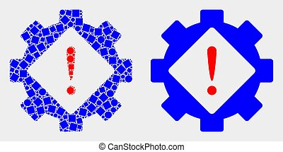 Pixelated and Flat Vector Gear Warning Icon