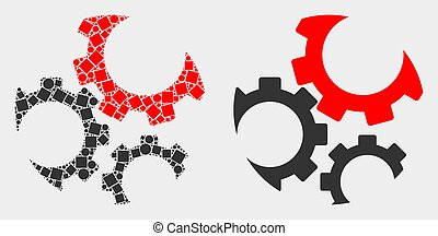 Pixelated and Flat Vector Gears Icon