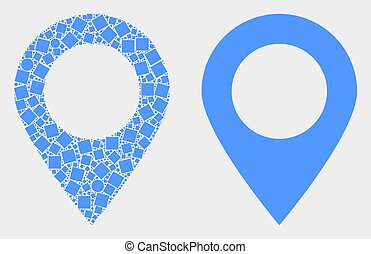 Pixelated and Flat Vector Map Marker Icon