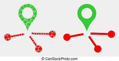 Pixelated and Flat Vector Map Pointer Links Icon