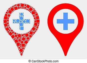 Pixelated and Flat Vector Medical Map Marker Icon