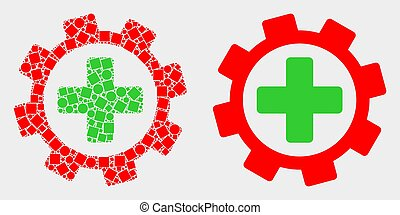 Pixelated and Flat Vector Medical Service Gear Icon