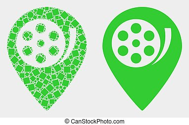 Pixelated and Flat Vector Movie Map Marker Icon