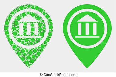 Pixelated and Flat Vector Museum Map Marker Icon