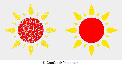 Pixelated and Flat Vector Sun Icon