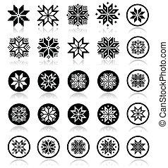 pixelated, flocons neige, noël, ico