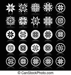 pixelated, flocons neige, noël