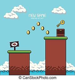 pixelated game scenery