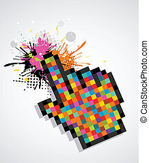 Pixelated hand with a splash