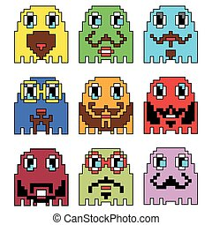 Pixelated Hipster emoticons inspired by 90's vintage video computer games showing vary emotions with stroke