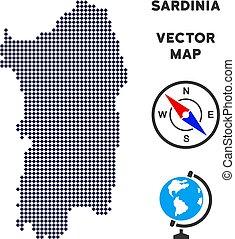 Pixelated Italian Sardinia Island Map - Dotted Italian...