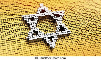 Pixelated Magen David - Pixelated symbol of Magen David made...