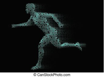 pixelated male figure running 0411 - Male figure running ...