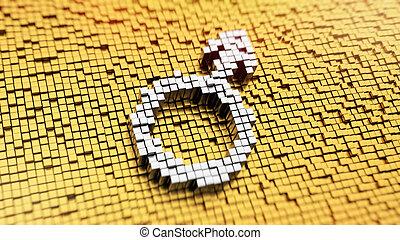 Pixelated male symbol