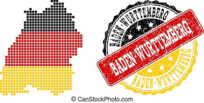 Pixelated Map of Baden-Wurttemberg State Colored in German Flag Colors and Grunge Stamp Seal
