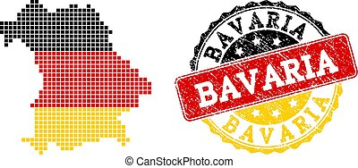 Pixelated Map of Bavaria State Colored in German Flag Colors and Grunge Stamp Seal