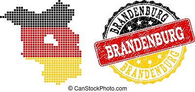 Pixelated Map of Brandenburg State Colored in German Flag Colors and Grunge Stamp Seal