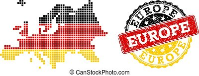 Pixelated Map of Europe Colored in German Flag Colors and Grunge Stamp Seal