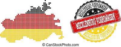 Pixelated Map of Mecklenburg-Vorpommern State Colored in German Flag Colors and Grunge Stamp Seal