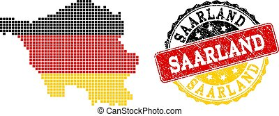 Pixelated Map of Saarland State Colored in German Flag Colors and Grunge Stamp Seal