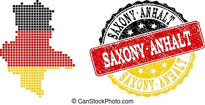 Pixelated Map of Saxony-Anhalt State Colored in German Flag Colors and Grunge Stamp Seal