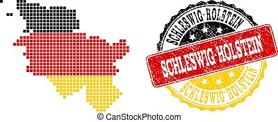 Pixelated Map of Schleswig-Holstein State Colored in German Flag Colors and Grunge Stamp Seal