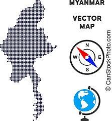 Pixelated Myanmar Map