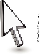 Pixelated pointer. Isolated on white. Vector eps10.