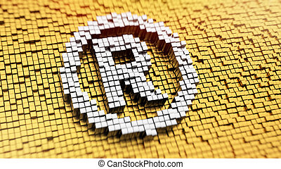 Pixelated registered sign made from cubes, mosaic pattern