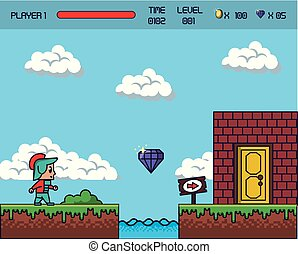 pixelated, scenario, gioco
