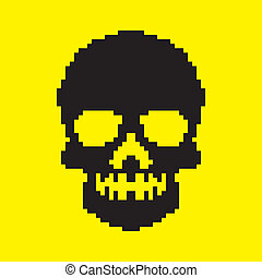 pixelated skull