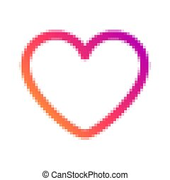 Pixelated social network heart icon.