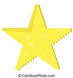 Pixelated star shape isolated on white background, Vector...