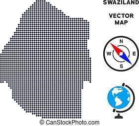 Pixelated Swaziland Map