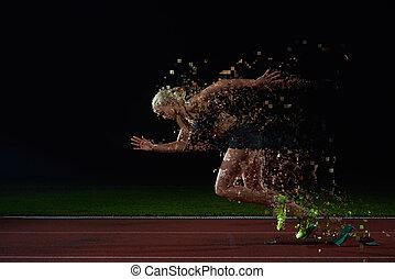 pixelated, tervezés, közül, nő, sprinter, kilépő, elindít gátol