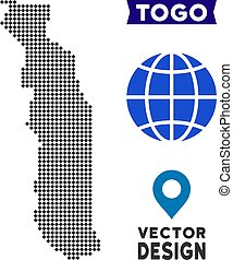 Pixelated Togo Map - Dot Togo map. Vector geographical map...