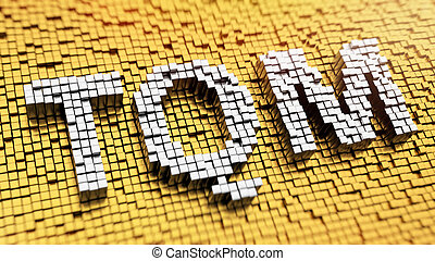 Pixelated acronym TQM made from cubes, mosaic pattern