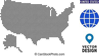 Pixelated USA With Alaska Map