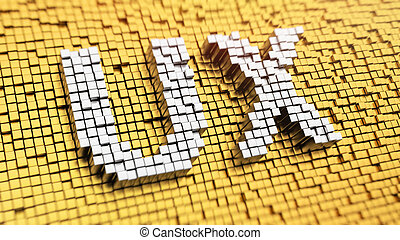 Pixelated acronym 'UX' made from cubes, mosaic pattern