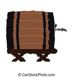 Pixelated wooden beer barrel on a white background, Vector...