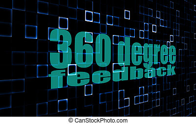 Pixelated words 360 degree feedback on digital background...